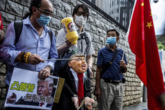 Protesta en los alrededores del consulado de EEUU en Hong Kong, el 30 de mayo.