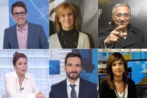 Arsenio Cañada, Gemma Nierga, Xavier Sardá, Iolanda Mármol, Lluís Guilera y Mónica López.