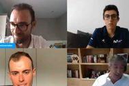 Valverde, Soler, Mas y Unzué, durante la comparecencia telemática.