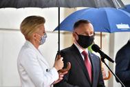 El presidente polaco, Andrzej Duda, y su mujer, Agata Kornhauser, este miércoles en el Palacio Presidencial de Varsovia.