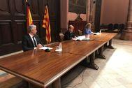 Imagen de los representantes de la Audiencia de Barcelona, del TSJC y del partido judicial de Barcelona en la presentación de ayer