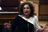 María Jesús Montero, ministra de Hacienda y portavoz del Gobierno, en el Congreso.