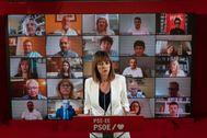La líder del PSE Idoia Mendia en el acto telemático acompañada por candidatos al Parlamento Vasco.
