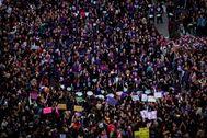 Vista aérea de la manifestación del 8-M de Madrid.