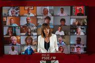 La secretaria general del PSE, Idoia Mendia, en la presentación de los candidatos socialistas al Parlamento vasco.