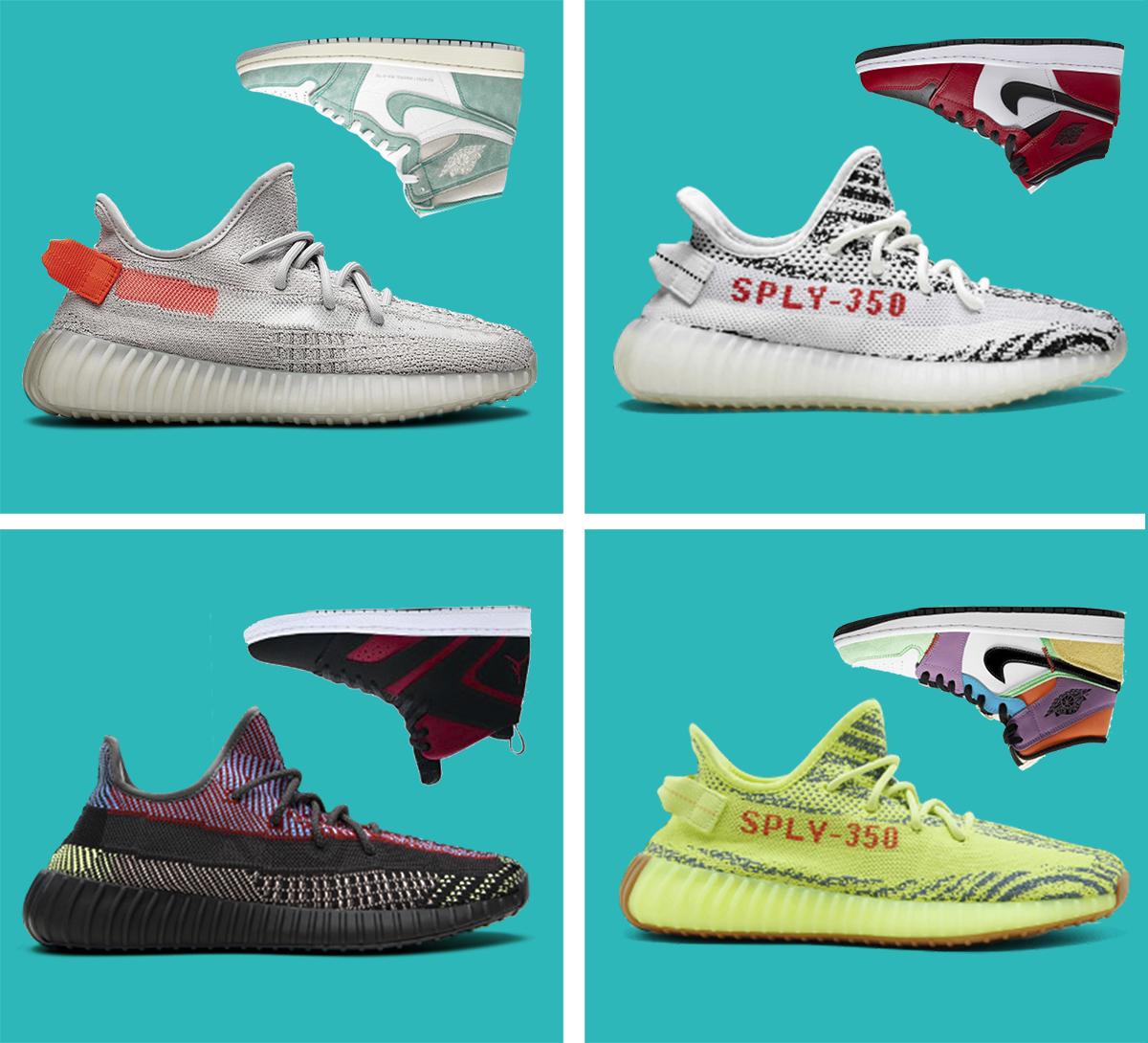 Zapatillas Adidas Yeezy Boost 350 y Air Jordan.