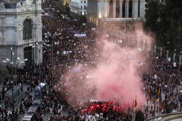 Un momento de la manifestación del 8-M en Madrid.