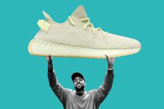 Montaje de Kanye West y sus zapatillas Adidas Yeezy Boost 350 V2.