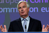 EU's Brexit negotiator Michel lt;HIT gt;Barnier lt;/HIT gt; gives a news conference after Brexit negotiations, in Brussels