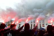 Manifestaciones frente al parlamento ucraniano en Kiev.