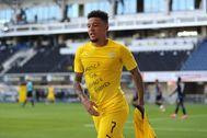 Jadon Sancho, en un partido con el Dortmund.