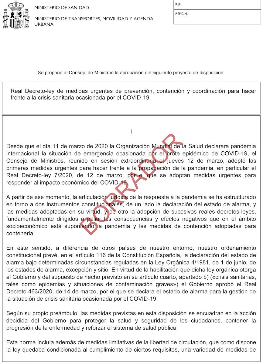Detalle del borrador del Real Decreto-Ley de medidas urgentes por la Covid-19.