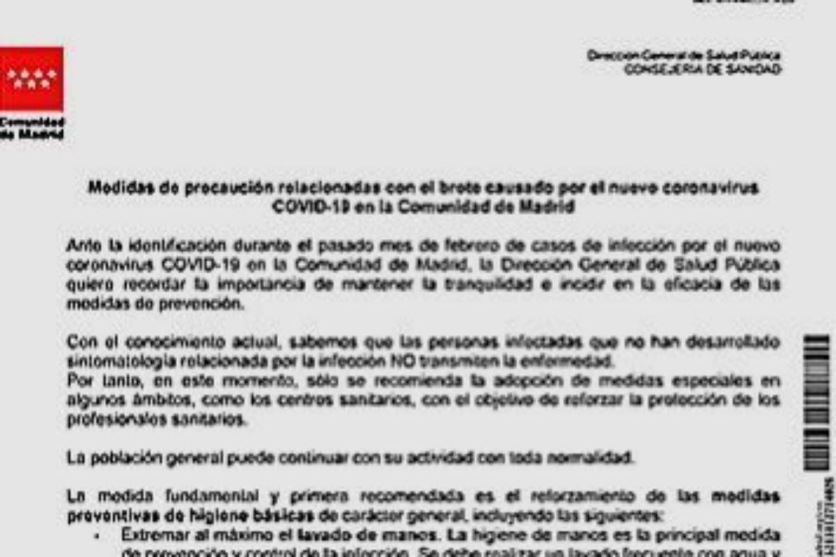 Instrucción de la Comunidad de Madrid del 5 de marzo.