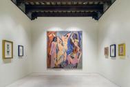 El tapiz de Las señoritas de Avignon que se exhibe en una de las salas del Picasso Málaga.