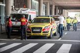 Despliegue en el aeropuerto de Lanzarote a la espera del avión.