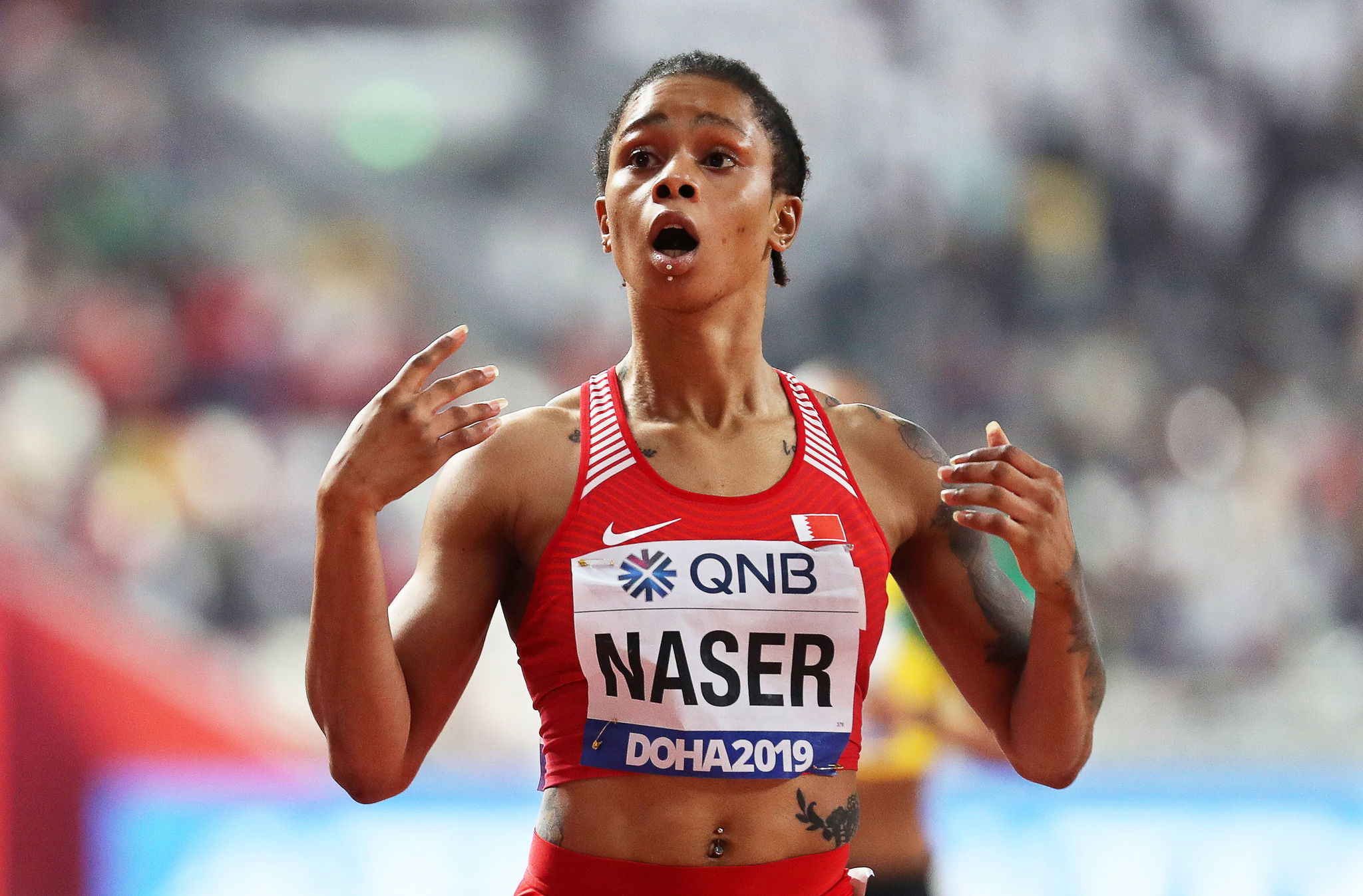 Doha (Qatar).- (FILE) - Salwa Eid lt;HIT gt;Naser lt;/HIT gt; of Bahrain reacts after crossing the finish line to win the women's 400m final at the IAAF World Athletics Championships 2019 at the Khalifa Stadium in Doha, Qatar, 03 October 2019 (re-issued on 05 June 2020). Salwa Eid lt;HIT gt;Naser lt;/HIT gt; has been provisionally banned for failing to make herself available for anti-doping tests, the Athletics Integrity Unit (AIU) confirmed on 05 June 2020. The 400m world champion could face a ban of up to two years for the whereabouts violation. (Mundial de Atletismo, 400 metros, Bahrein, Catar) EPA/ *** Local Caption *** 55520523