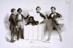 El esclavo Henry Brown escapando.