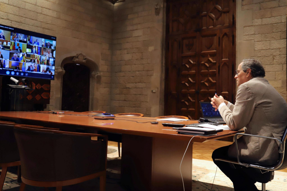 El presidente catalán, Quim Torra, en un momento de la conferencia de presidentes autonómicos.