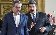 El ex presidente del Gobierno español, José Luis Rodríguez Zapatero, y el presidente venezolano, Nicolás Maduro.