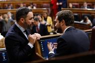 El presidente de Vox, Santiago Abascal (izqda.), conversa con el presidente del PP, Pablo Casado, en el Congreso.