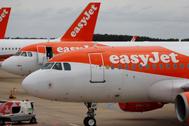 Aviones de easyJet en el aeropuerto de Luton, en Londres.