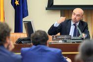 El portavoz nacional de Vox, Jorge Buxadé, en su reciente paso por el Congreso.