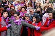 Algunas de las ministras que representaron al Gobierno en la manifestación del pasado 8 de marzo.