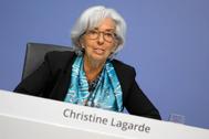 La presidenta del BCE, Christine Lagarde, tras la última reunión de la entidad.
