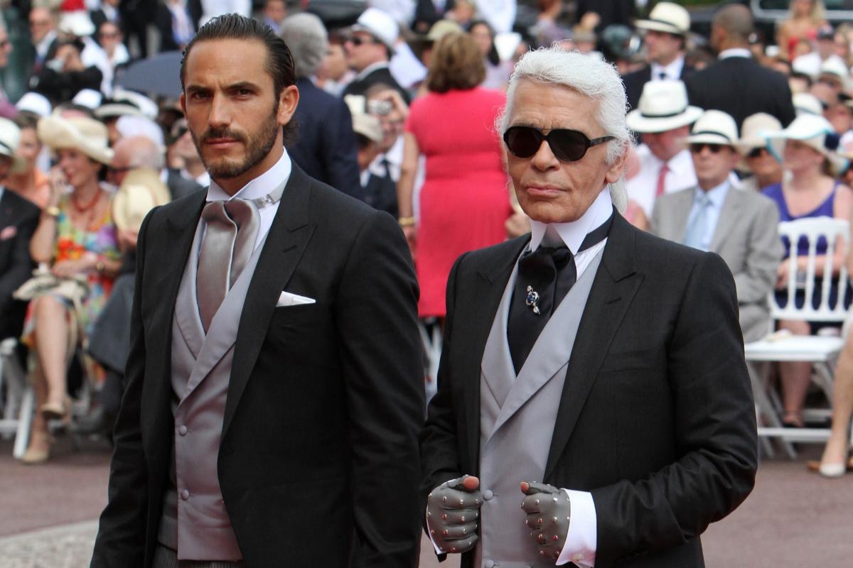 Lagerfeld y Sebastien Jondeau en la boda de Alberto de Mónaco.