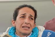 Patricia Ramirez ,madre de Gabriel, hablando con los medios en 2018.