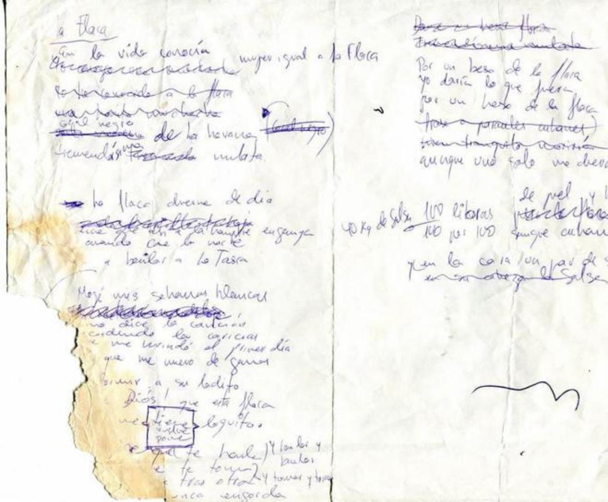 Manuscrito de la canción 'La Flaca' | EL MUNDO