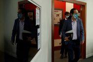 El vicepresidente del Gobierno, Pablo Iglesias, este martes, tras acabar el Consejo de Ministros, en La Moncloa.