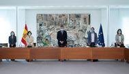 El presidente del Gobierno, Pedro Sánchez, y sus vicepresidentes el pasado martes en el Palacio de la Moncloa