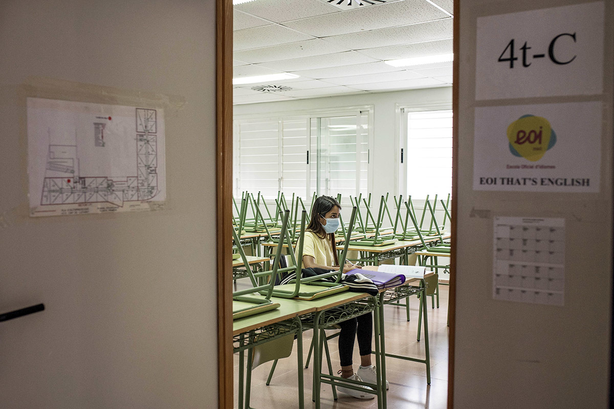 Detalle de un aula del Colegio Alameda de Osuna de Madrid, esta semana.