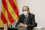 El presidente catalán, Quim Torra, durante la reunión semanal del Govern.