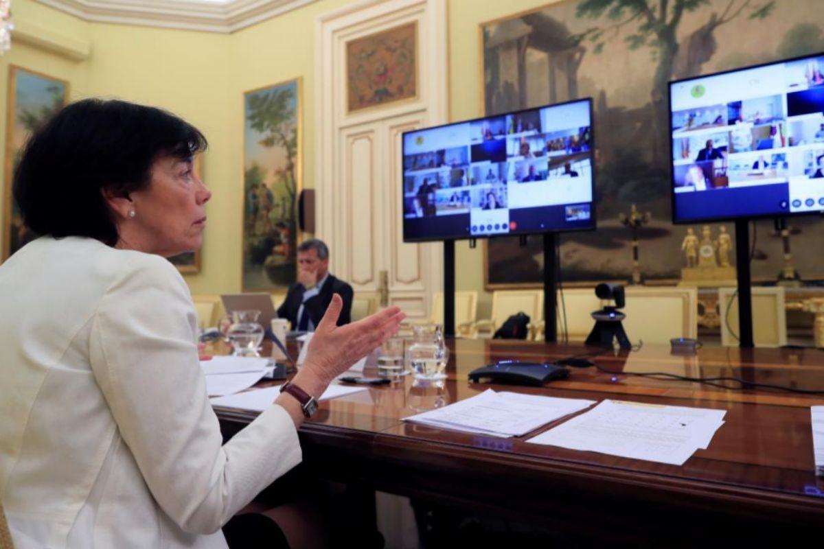 Isabel Celaá, durante la reunión de la Conferencia Sectorial de Educación.