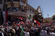 Contramanifestación progubernamental en la ciudad drusa de Sueida.