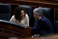 La ministra de Hacienda, María Jesús Montero, y el responsable de Interior, Fernando Grande-Marlaska.