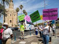 Trabajadores del transporte turístico en las protestas por España.