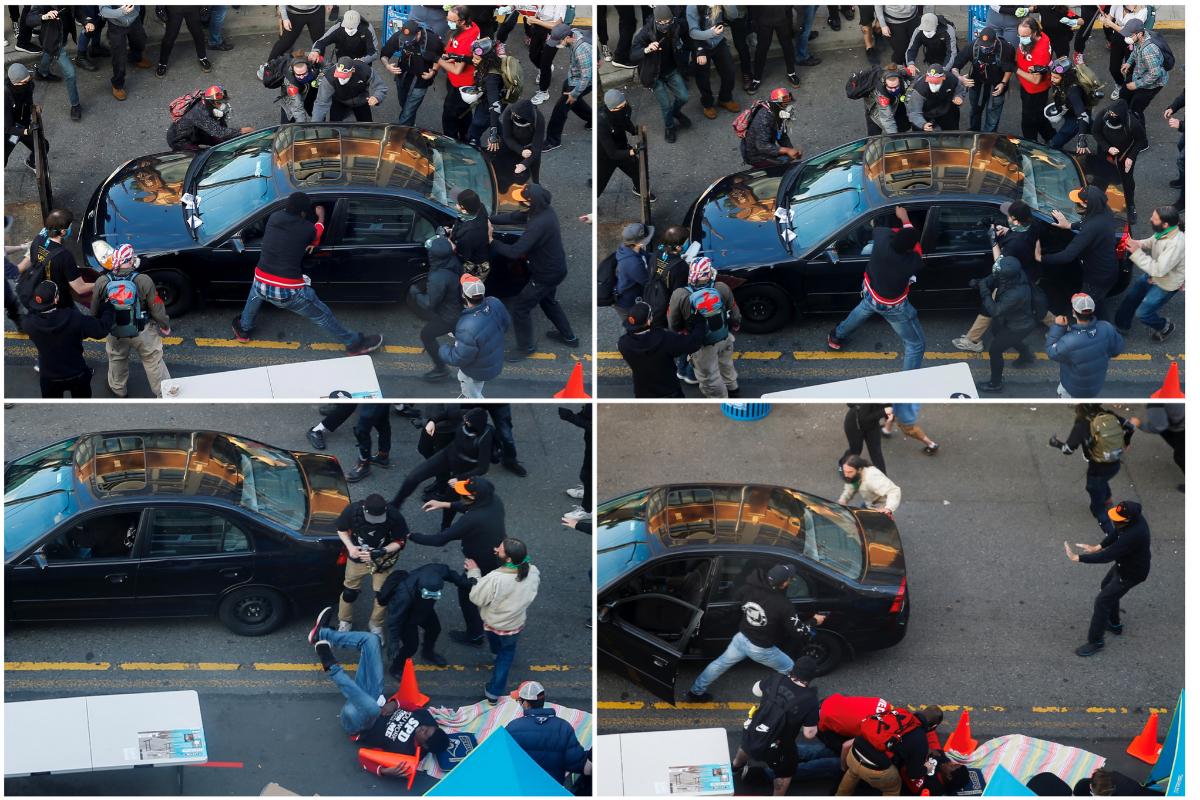 Una combinación de imágenes muestra el momento en el que un hombre que arrolló al grupo de manifestantes dispara contra uno de ellos que se acercó al vehículo.
