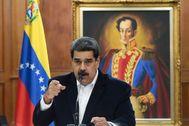 El presidente, Nicolás Maduro, en el Palacio de Miraflores.