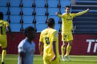 Trigueros celebra su gol al Celta en Balaídos.