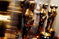 """FILE PHOTO: lt;HIT gt;Oscar lt;/HIT gt; statuettes are displayed at the """"Meet the Oscars"""" exhibit in New York"""