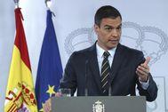 Pedro Sánchez, en rueda de prensa desde La Moncloa.