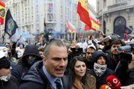 Javier Ortega Smith y Macarena Olona, durante la manifestación del 3 de marzo.