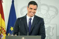 Pedro Sánchez, en la rueda de prensa de ayer en La Moncloa.