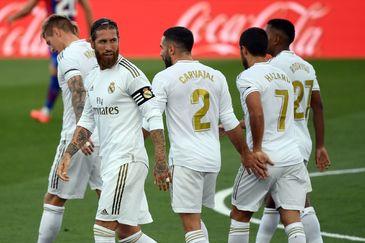 Sergio Ramos, en la celebración de su gol.