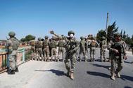 Soldados turcos desplegados en Siria.