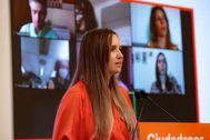 Melisa Rodríguez, en la rueda de prensa de este lunes en Madrid.
