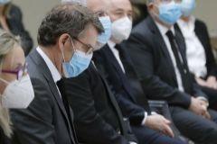 El presidente de Galicia, Alberto Núñez Feijóo, en el homenaje institucional a las víctimas de la pandemia del coronavirus.